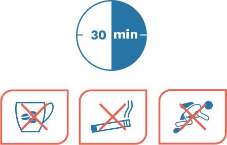 Zorg dat u dertig minuten voor de meting geen koffie drinkt, niet rookt en u zich niet inspant.