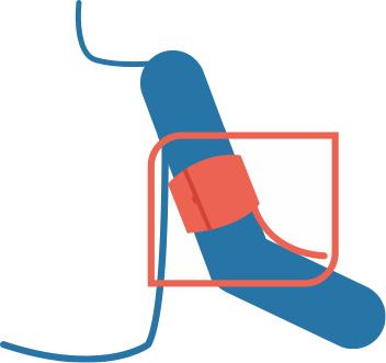 Meet de bloeddruk aan de arm die u het minste gebruikt.