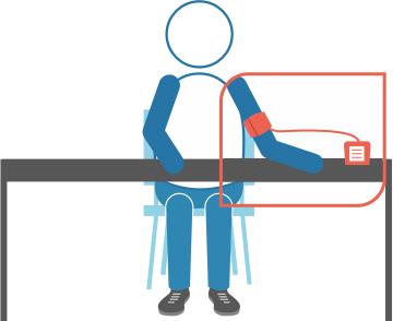 Ondersteun vervolgens de onderarm die gemeten wordt, bijvoorbeeld op de leuning van een stoel.
